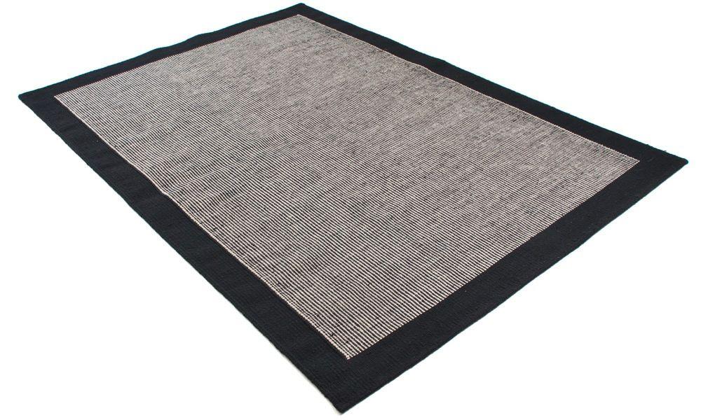 Stripe svart/natur - håndvevd ullteppe