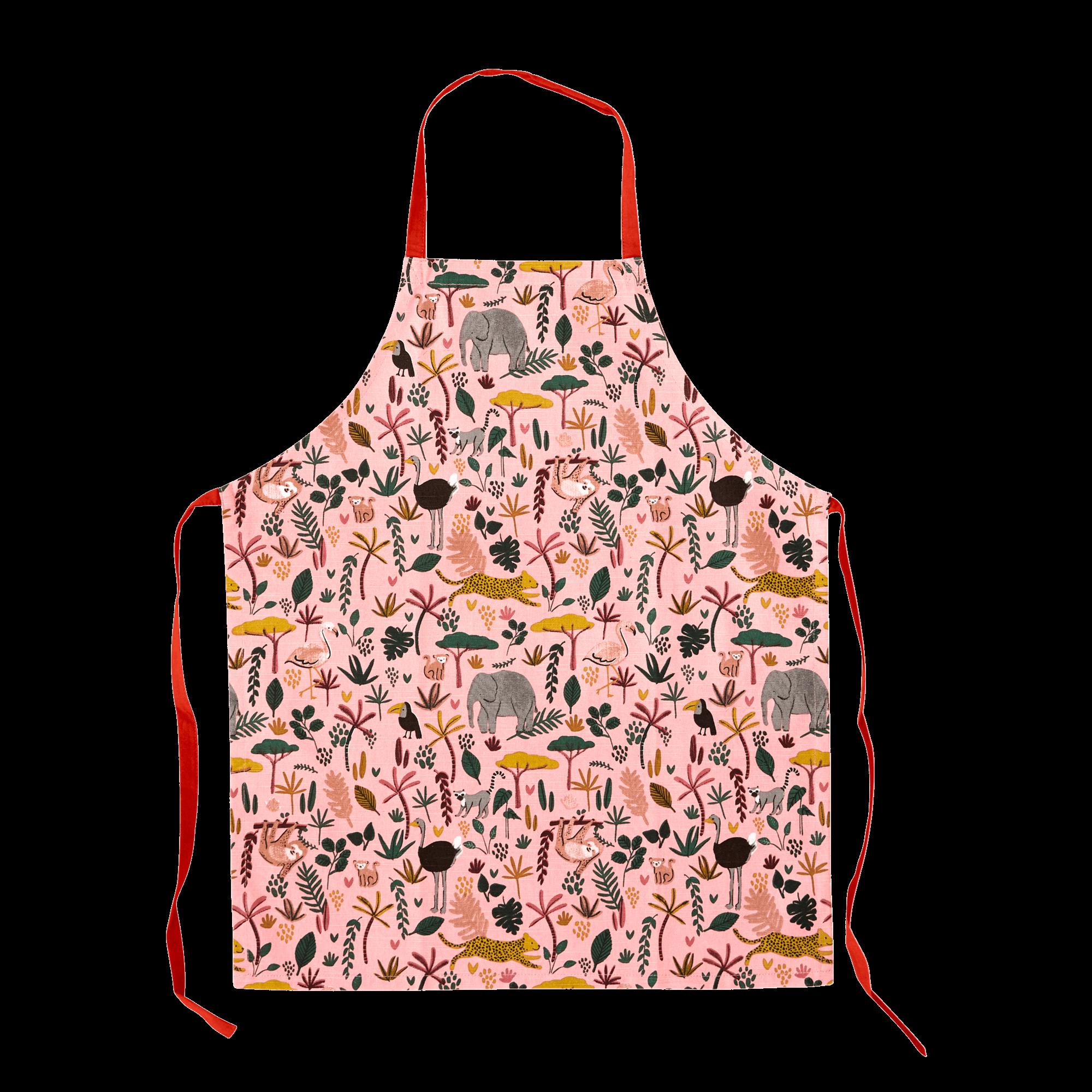 Rice - Kids Cotton Apron w. All Over Jungle Animals Print - Coral