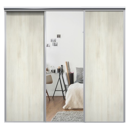 Mix Skyvedør White wood / Sølvspeil 2530 mm 3 dører
