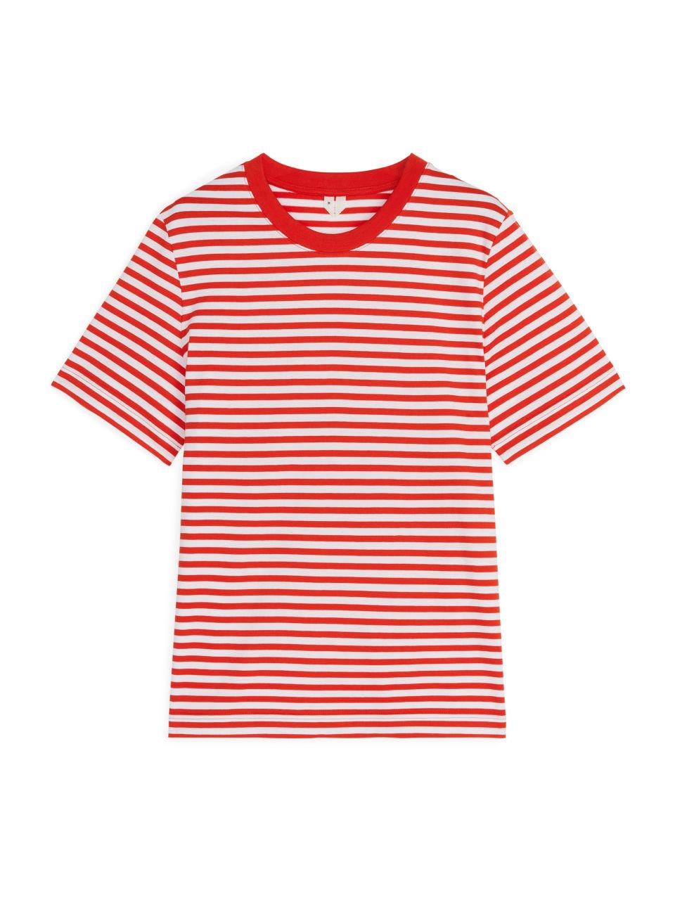 Crew-Neck Striped T-shirt - Orange