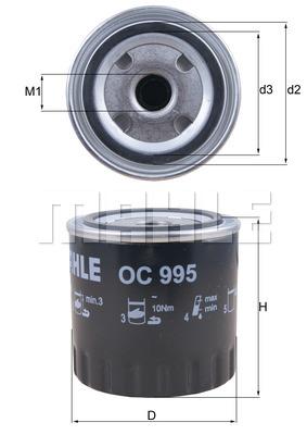 Öljynsuodatin MAHLE ORIGINAL OC 995