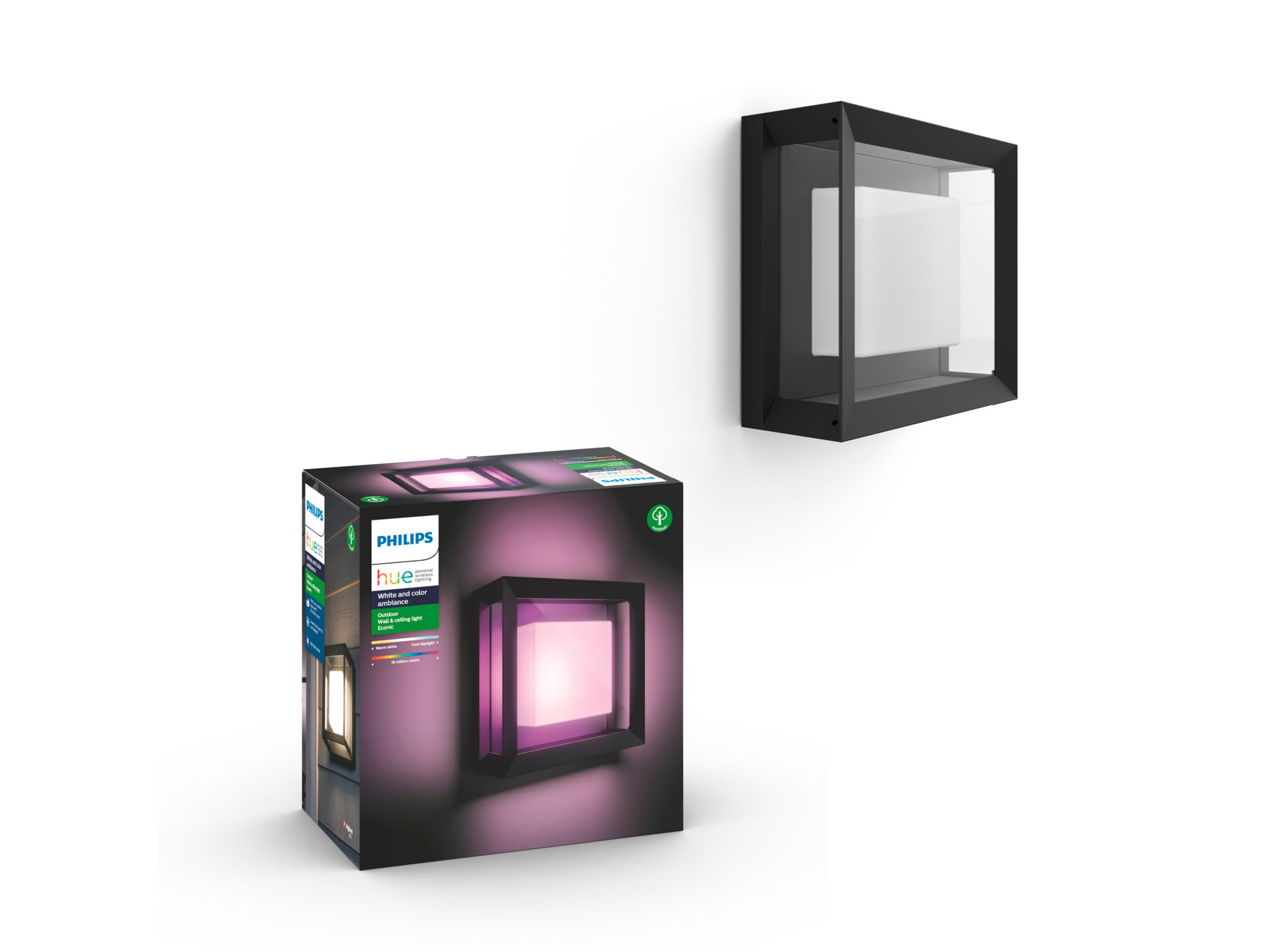 Philips Hue - Econic Square Wall Lantern Outdoor - White & Color Ambiance