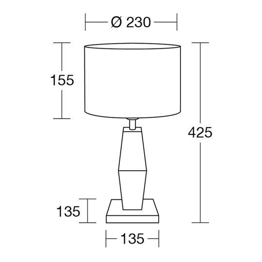 HerzBlut Marla bordlampe, hvit, oljet eik, 42,5 cm