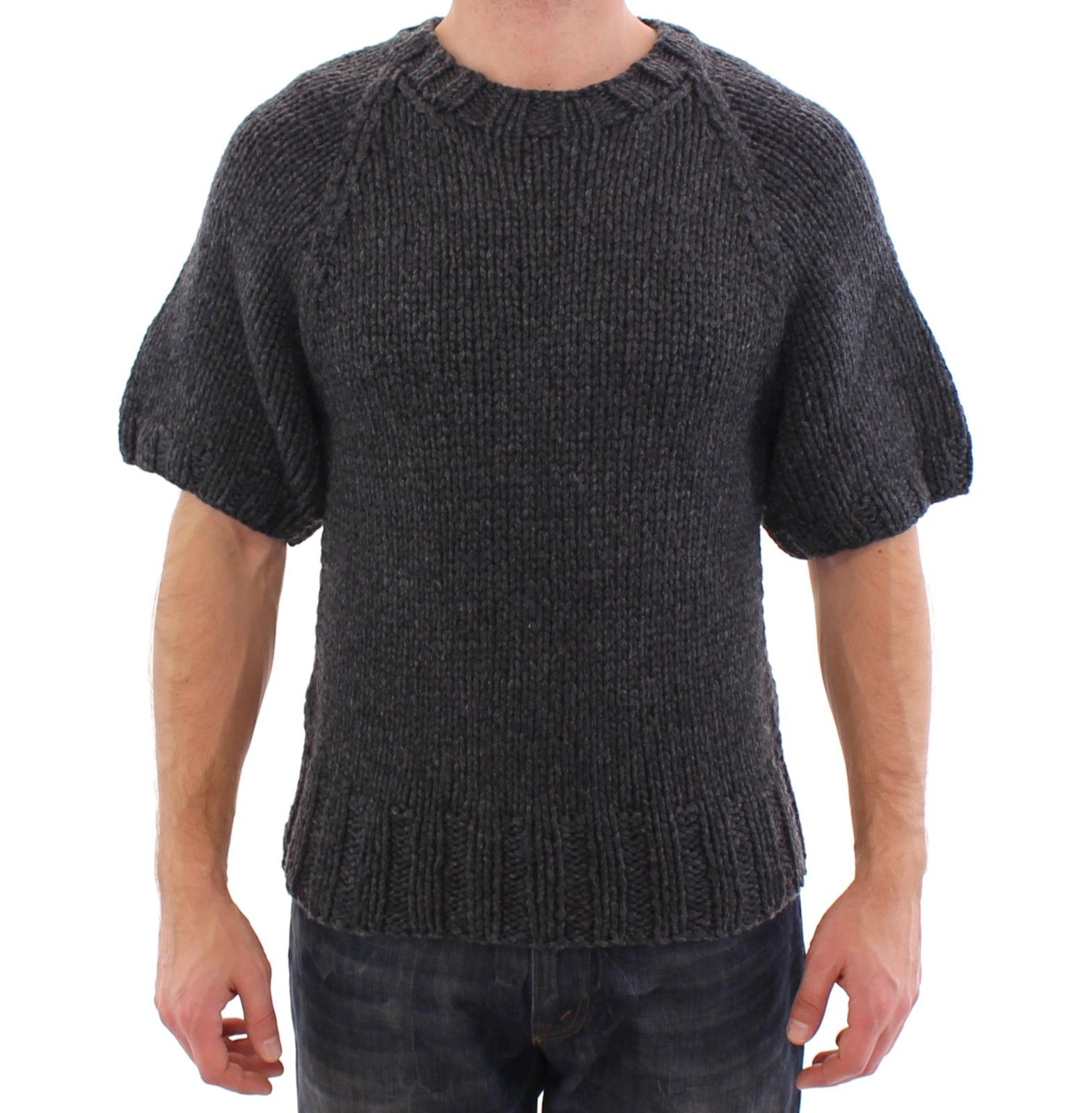 Dolce & Gabbana Women's Cashmere Knitted SS Sweater Gray GSS15008 - IT48 | M