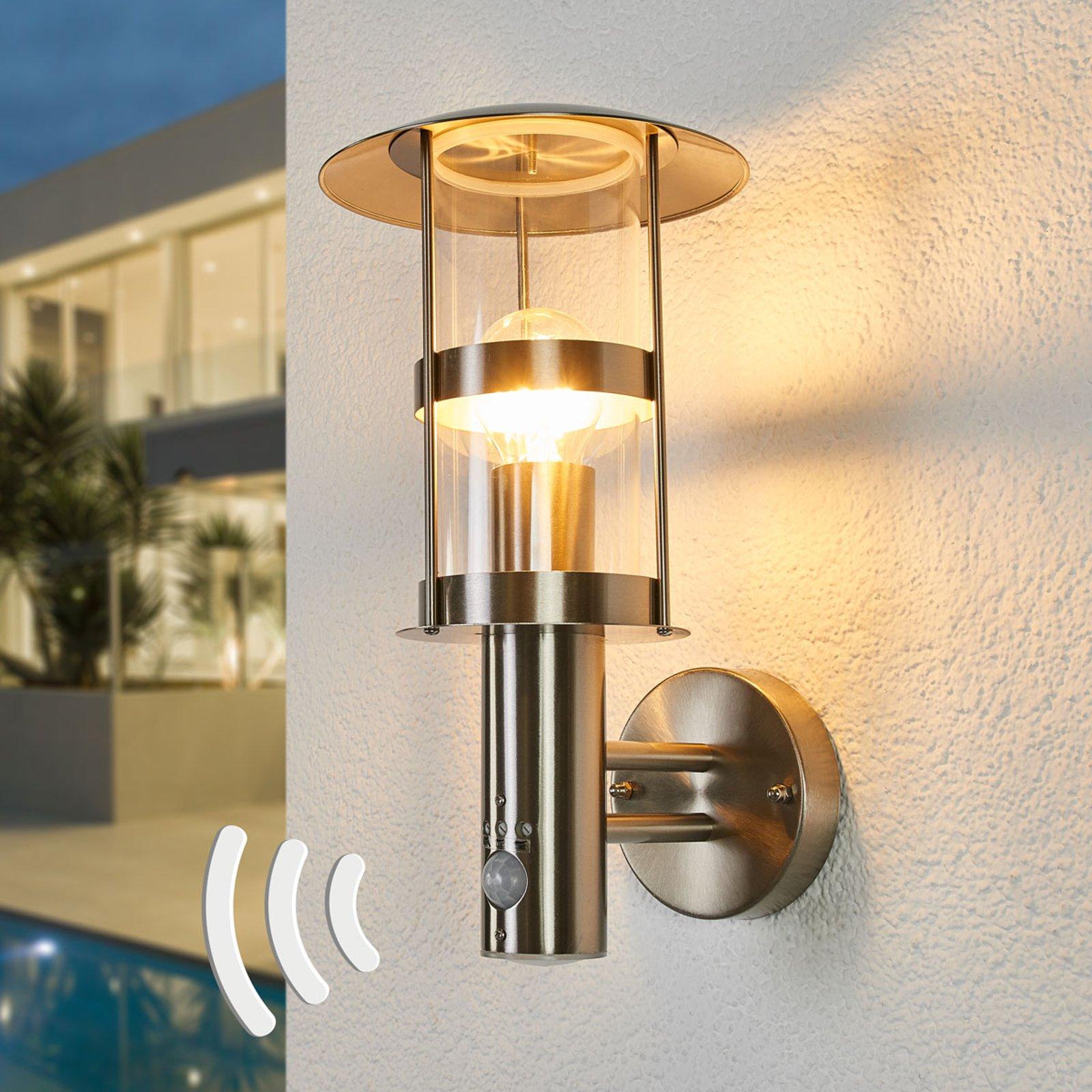 LED-utevegglampe Noemi i rustfritt stål med sensor