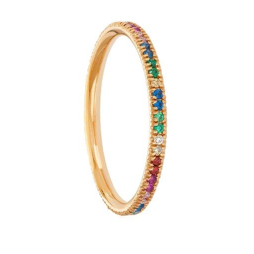 Smal ring i 18K guld med multifärgade Kubisk zirkonia, 18.5