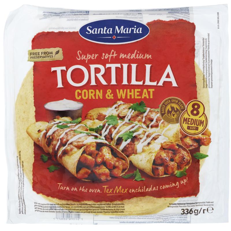 """Tortillabröd """"Corn & Wheat"""" Medium 336g - 33% rabatt"""