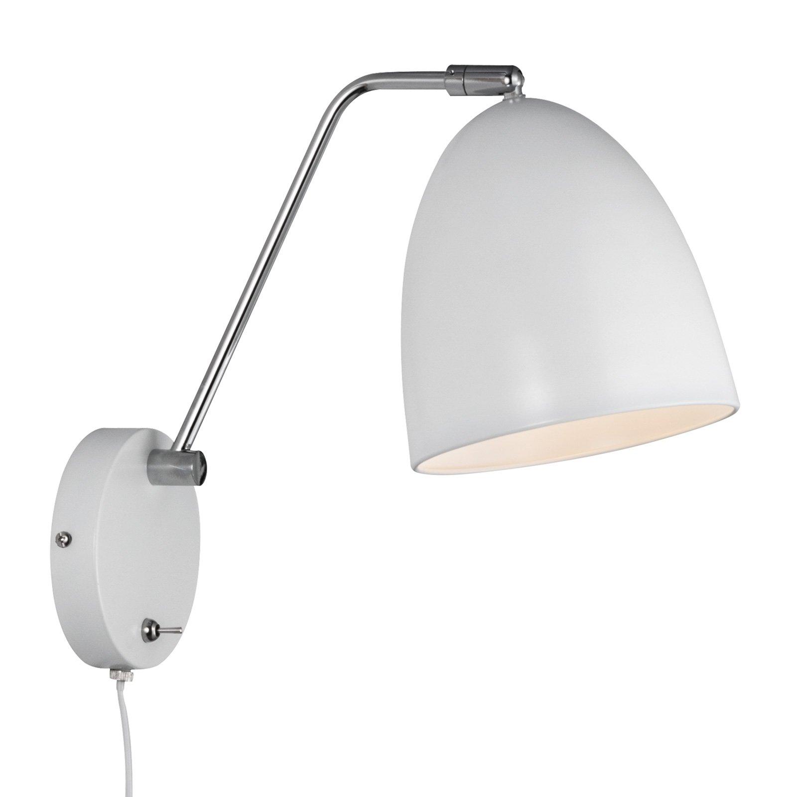 Vegglampen Alexander med kabel og plugg, hvit