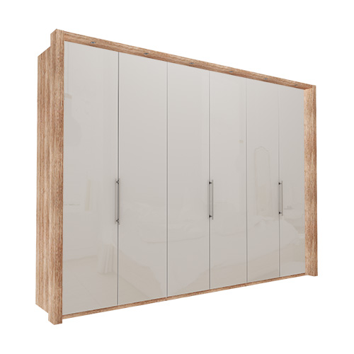 Garderobe Atlanta - Lys rustikk eik 300 cm, 216 cm, Med ramme