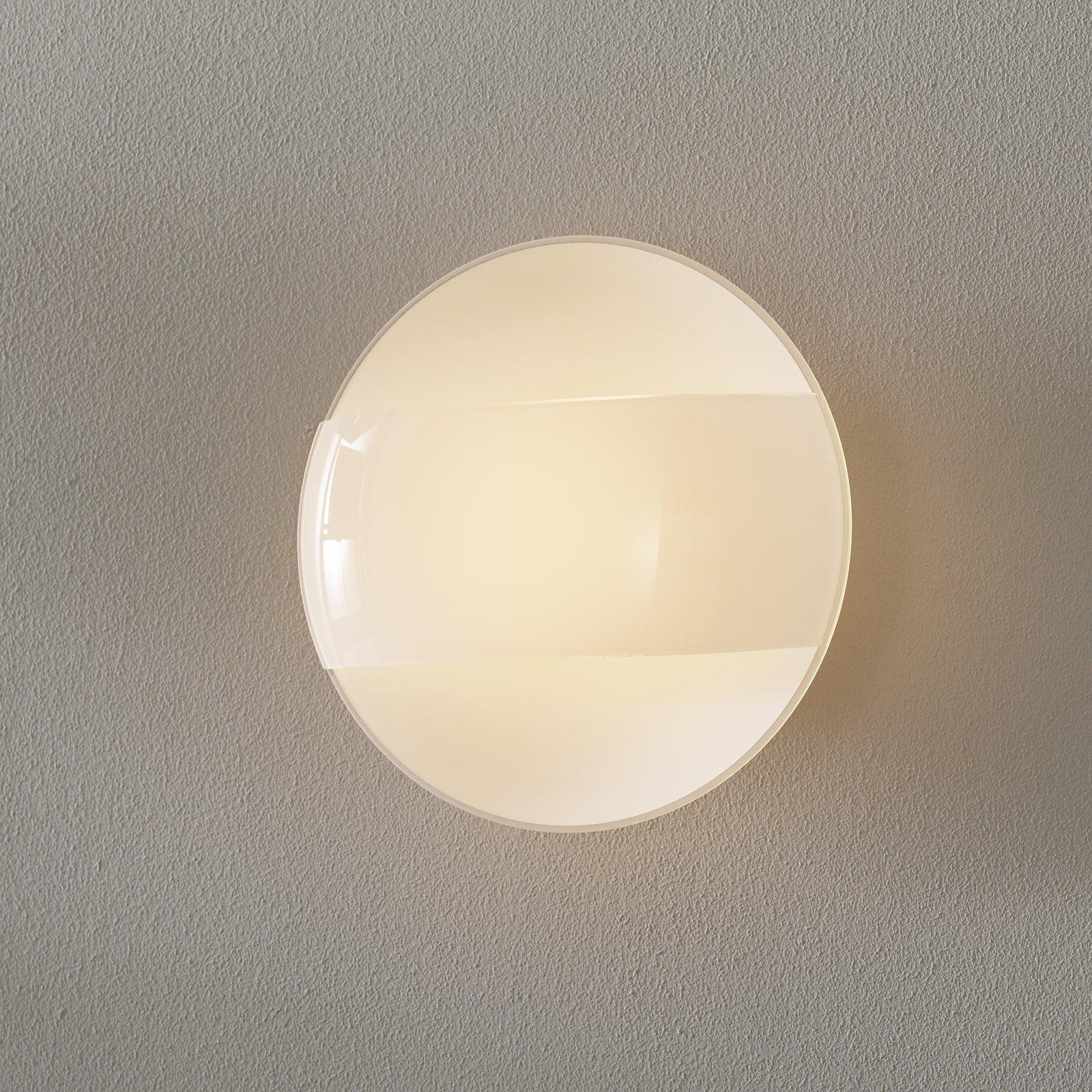 1650/A20 vegglampe, matt hvitt, glasslokk