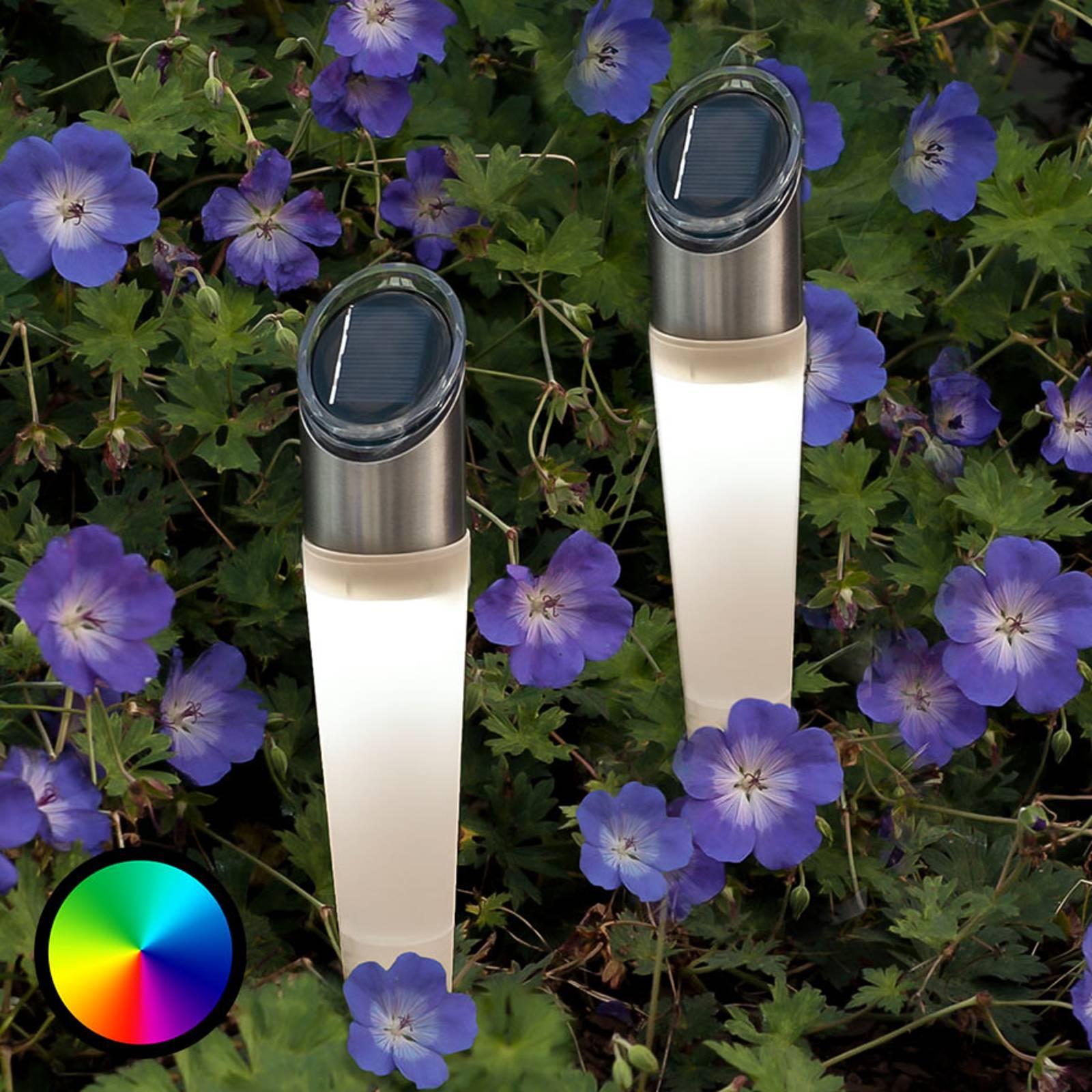 Aurinkokäyt. RGB-LED-maapiikkivalo Assisi, 2 kpl