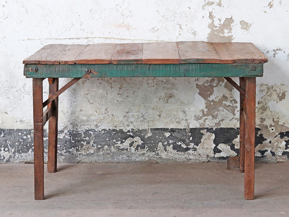 Small Wooden Folding Table - Painted Rim Brown