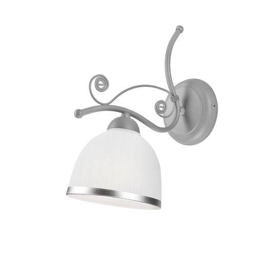 Vegglampe Roma i hvit og sølv