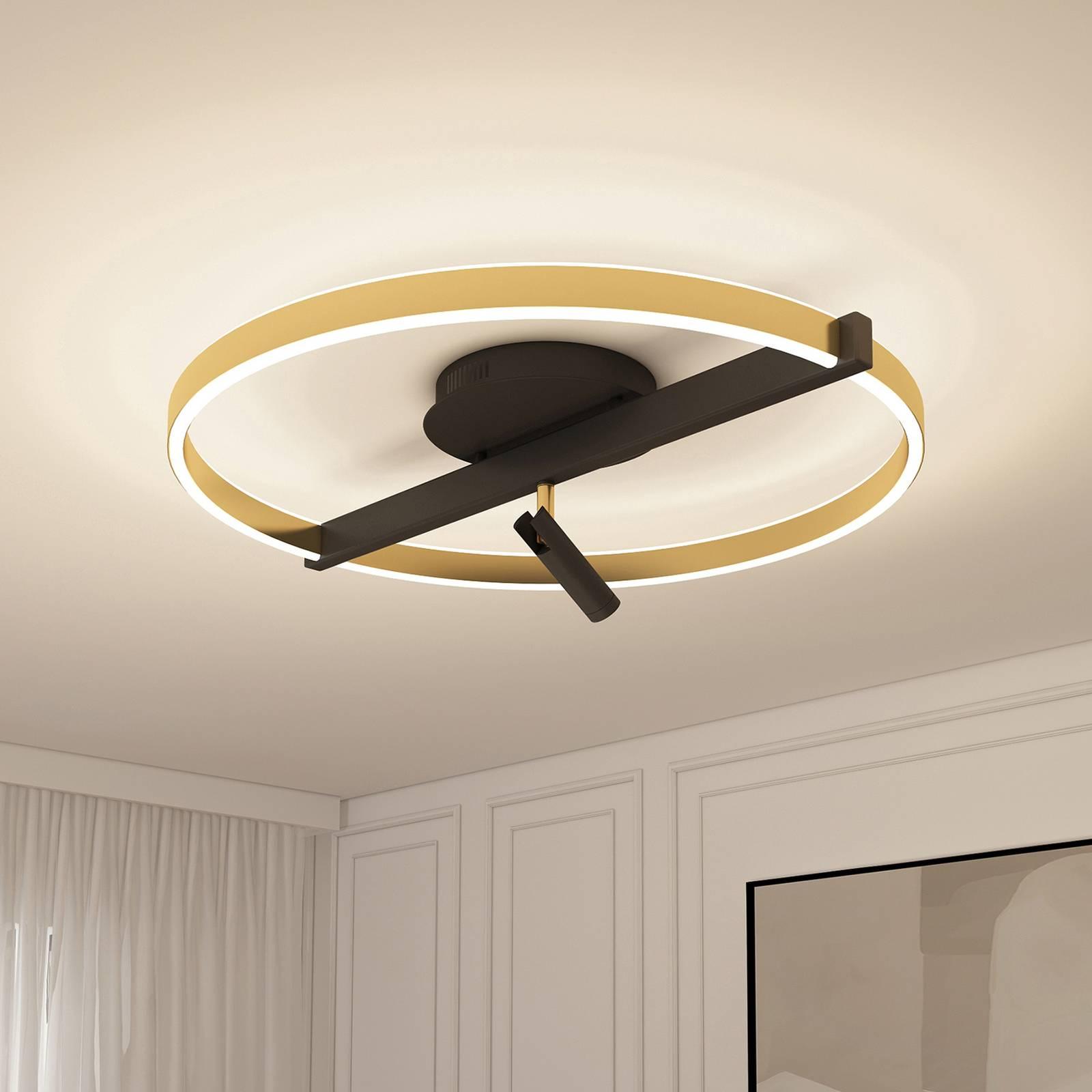 Lucande Matwei -LED-kattovalo, pyöreä, messinki