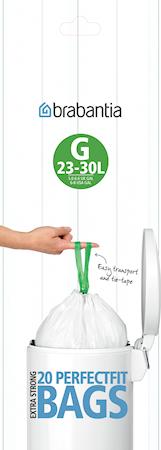 Avfallspåsar G, 23-30Ltr [20 påsar/rulle] White