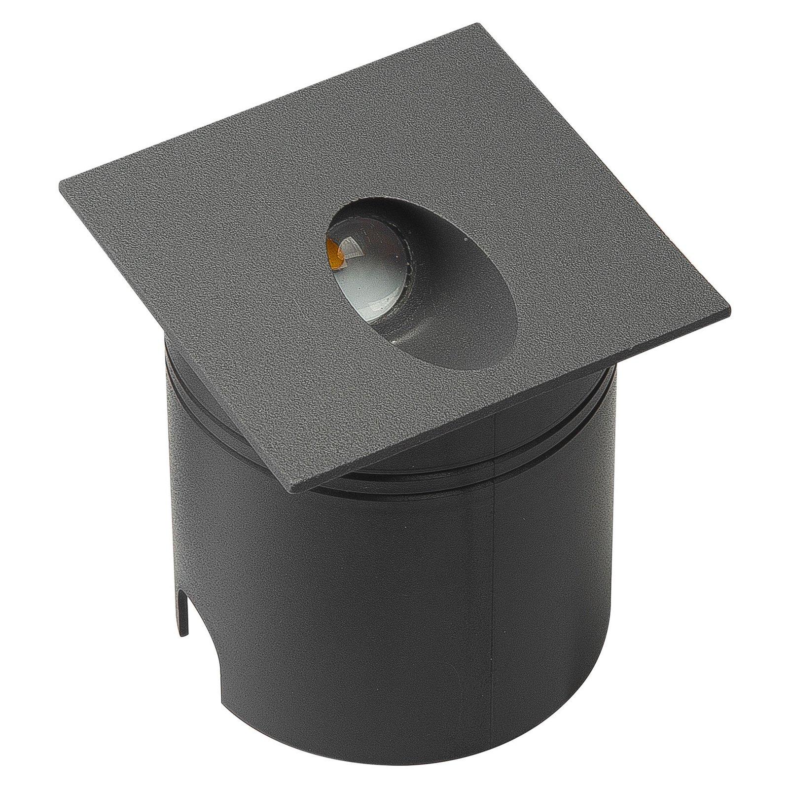 Aspen IP65 LED-innfellingslampe, kantet, mørkegrå