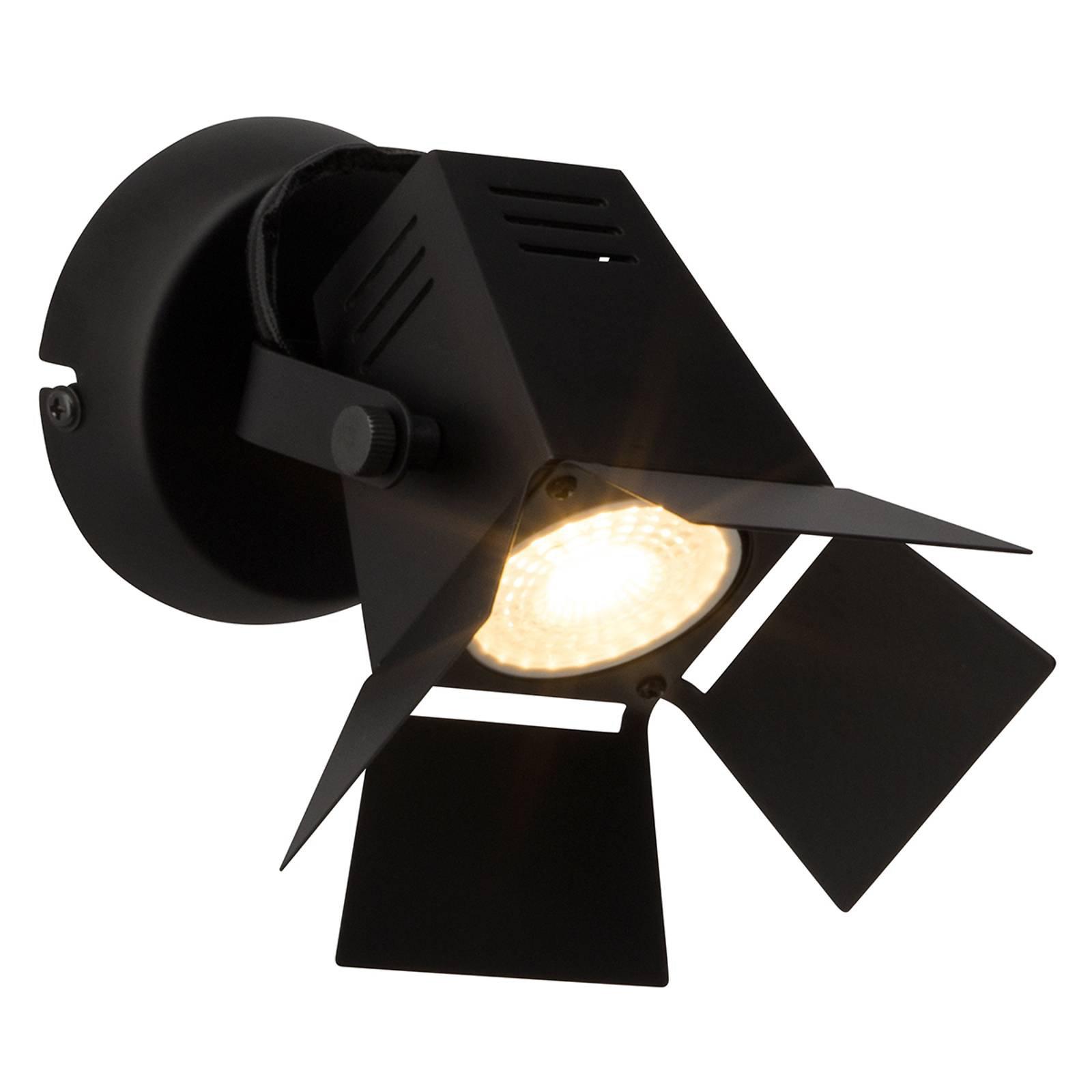 Teknisk virkende LED vegglampe Movie, svart