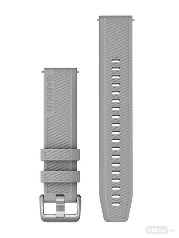 Garmin 20mm Grått silikonarmband med spännen i rostfritt stål