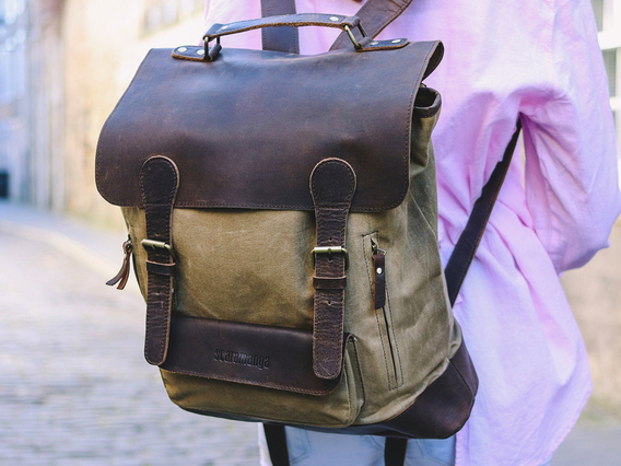 Leather and Canvas Backpack For Women