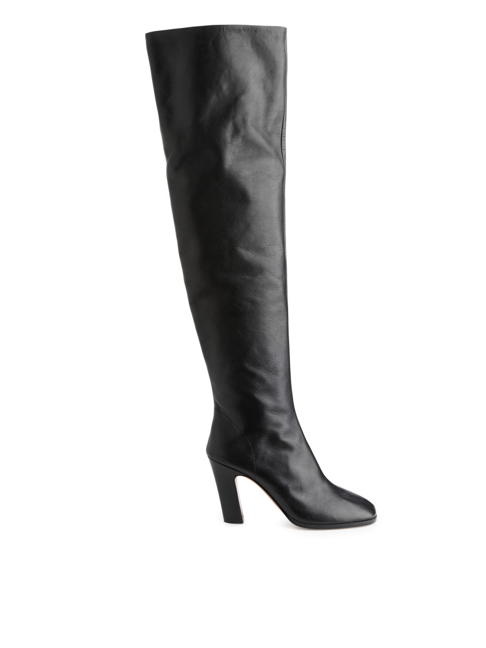Leather Over Knee Boots - Black
