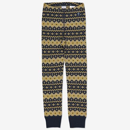 Merinoull bukse jaquardmønstret mørkblå