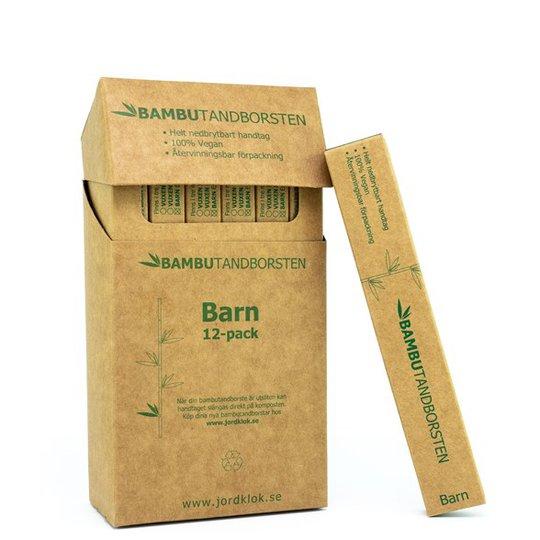 Bambutandborsten Naturlig Barntandborste i bambu - Mjuk, 12-pack