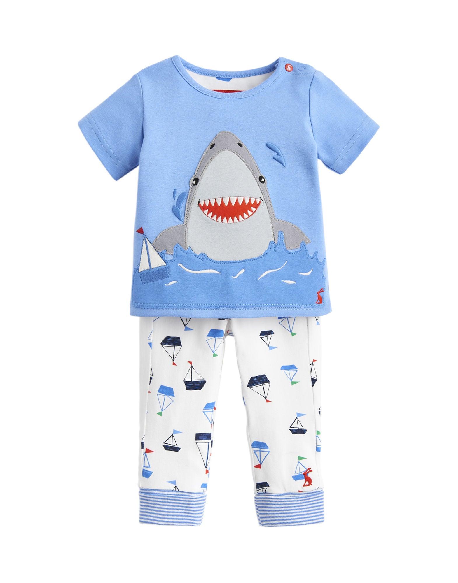 Tom Joule Topp & Byxa Set, Blue White Shark 3-6 Månader