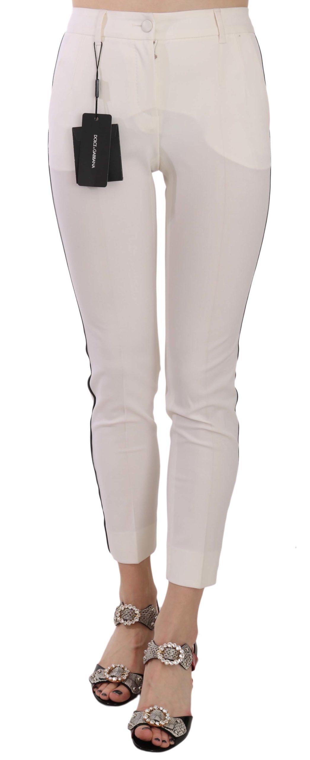 Dolce & Gabbana Women's Side Stripe Cropped Skinny Trouser White PAN70047 - IT36 XXS
