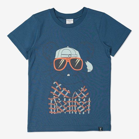 T-skjorte med trykk mørkblå
