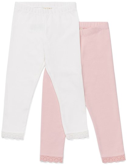 Petite Chérie Atelier Amandine Leggings 2-Pack, Pink/White 110-116