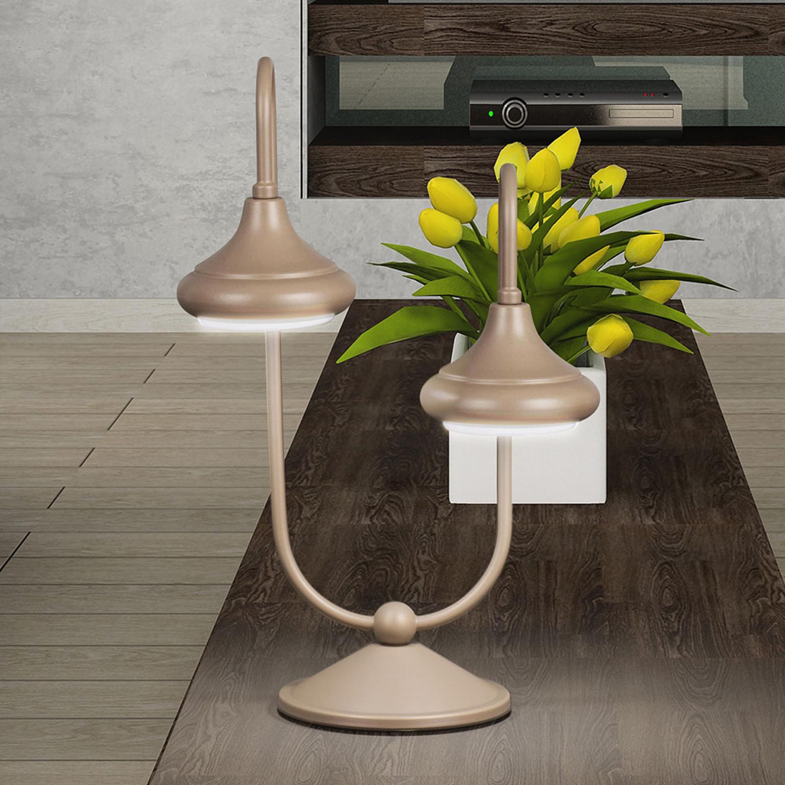 Pöytävalaisin 1680/2L, 2-lamppuinen, havana beige