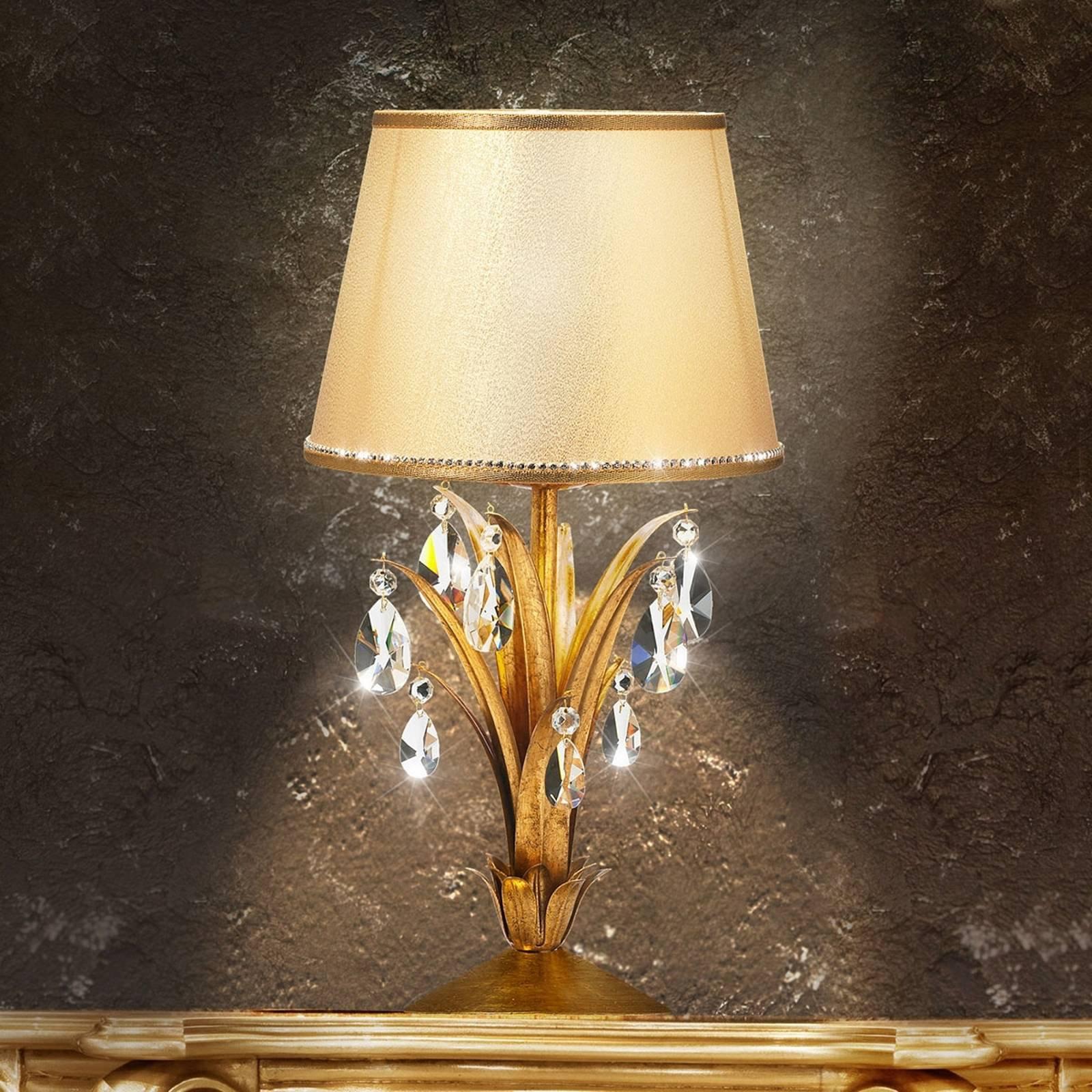 Bordlampe Mayleen med krystaller