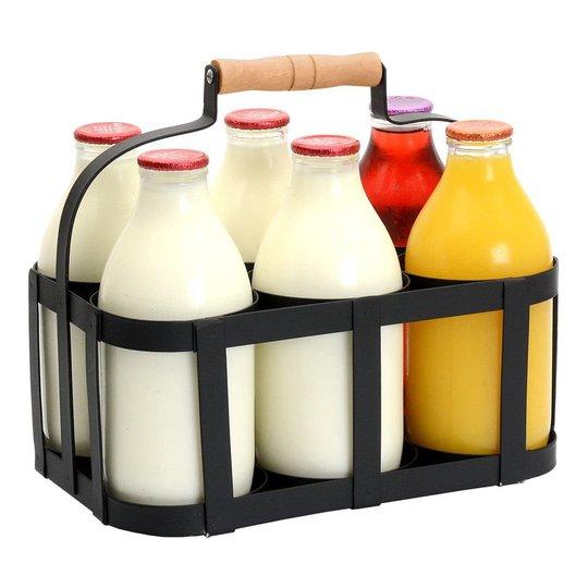 Mjölktråg med Handtag - Ställ för 6 flaskor