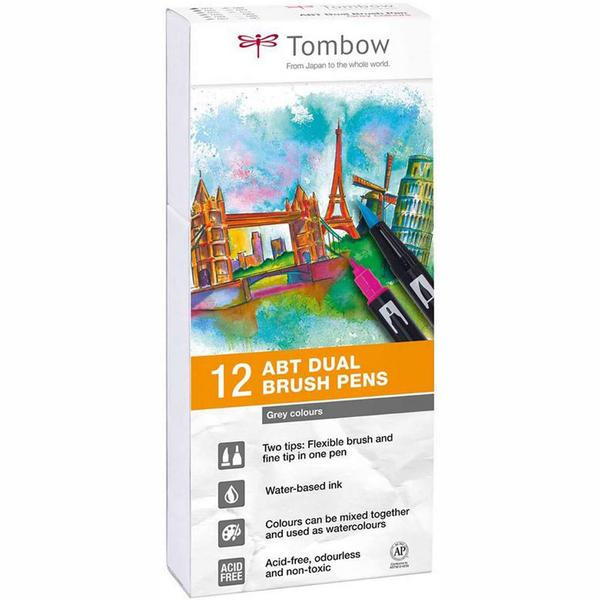 Tombow ABT Grey Colours Brush Pens - Set of 12