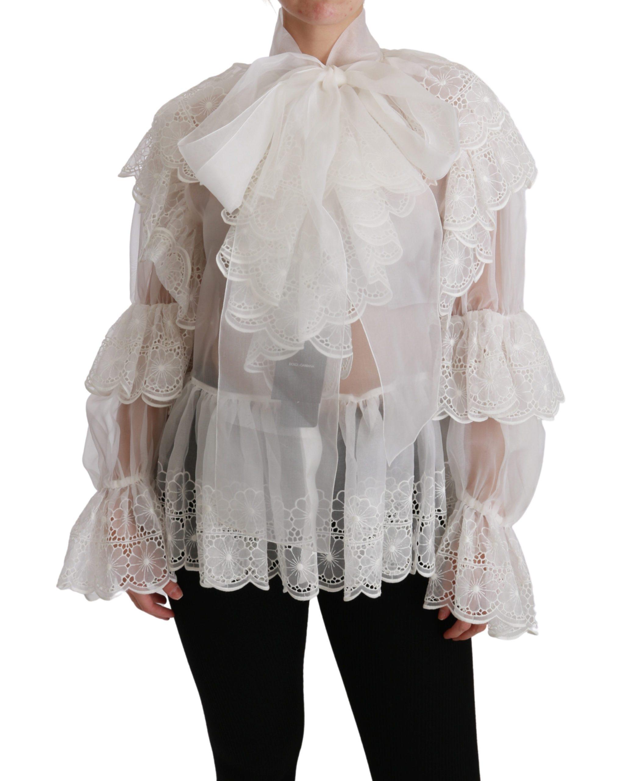 Dolce & Gabbana Women's Lace Long Sleeve Top White TSH4484 - IT40|S