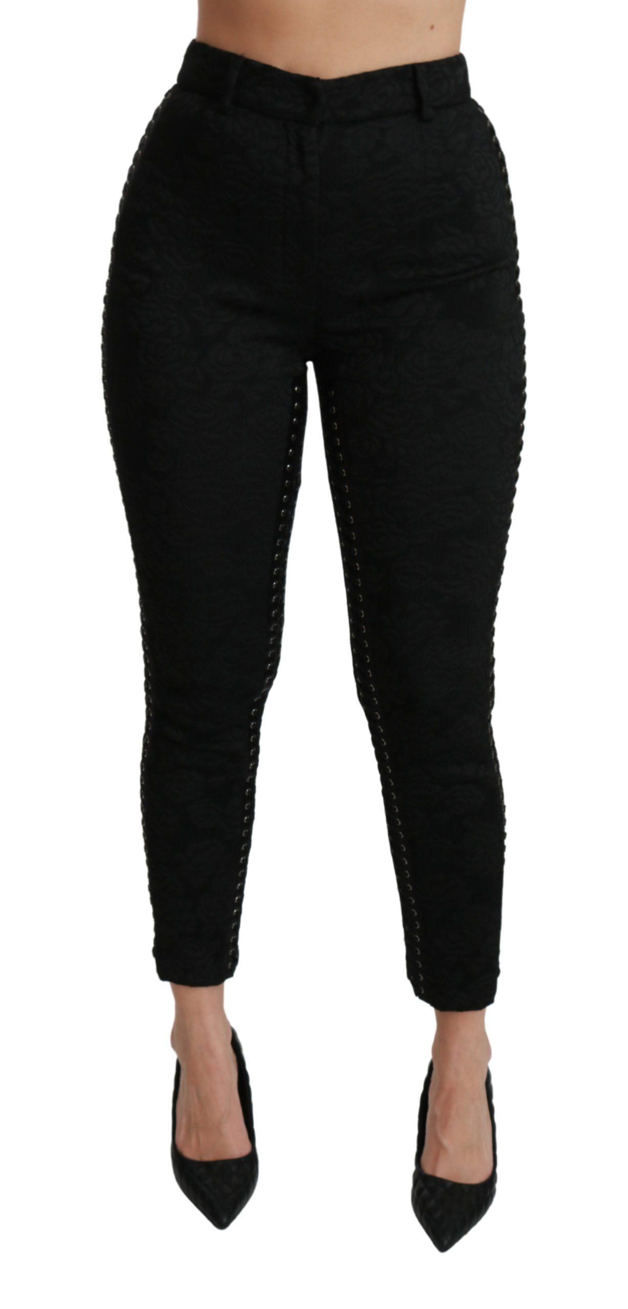 Dolce & Gabbana Women's Brocade Skinny High Waist Trouser Black PAN70942 - IT40 S