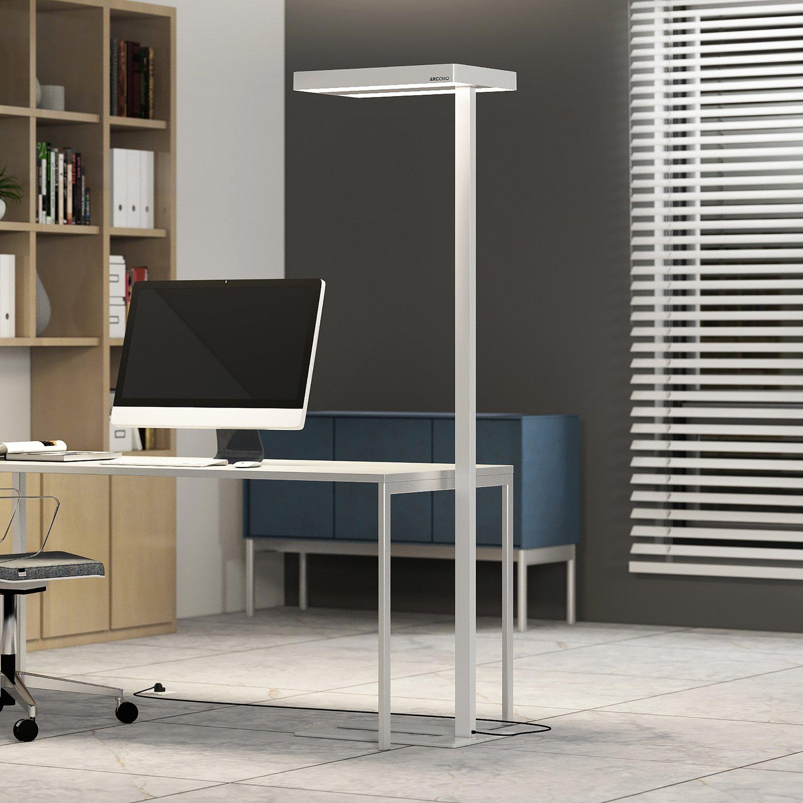 Arcchio Kalem gulvlampe til kontor, kantet, hvit