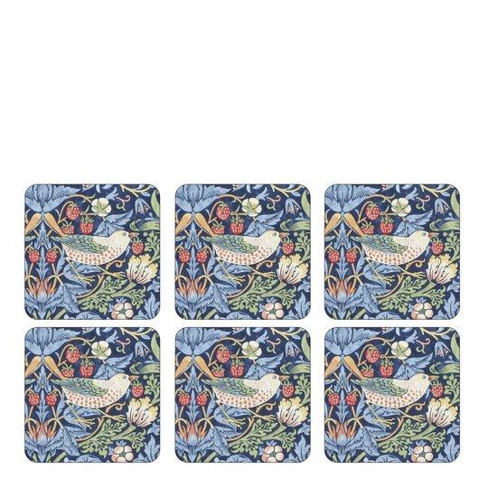 Morris & Co - Strawberry Thief Glasunderlägg 6-pack Blå