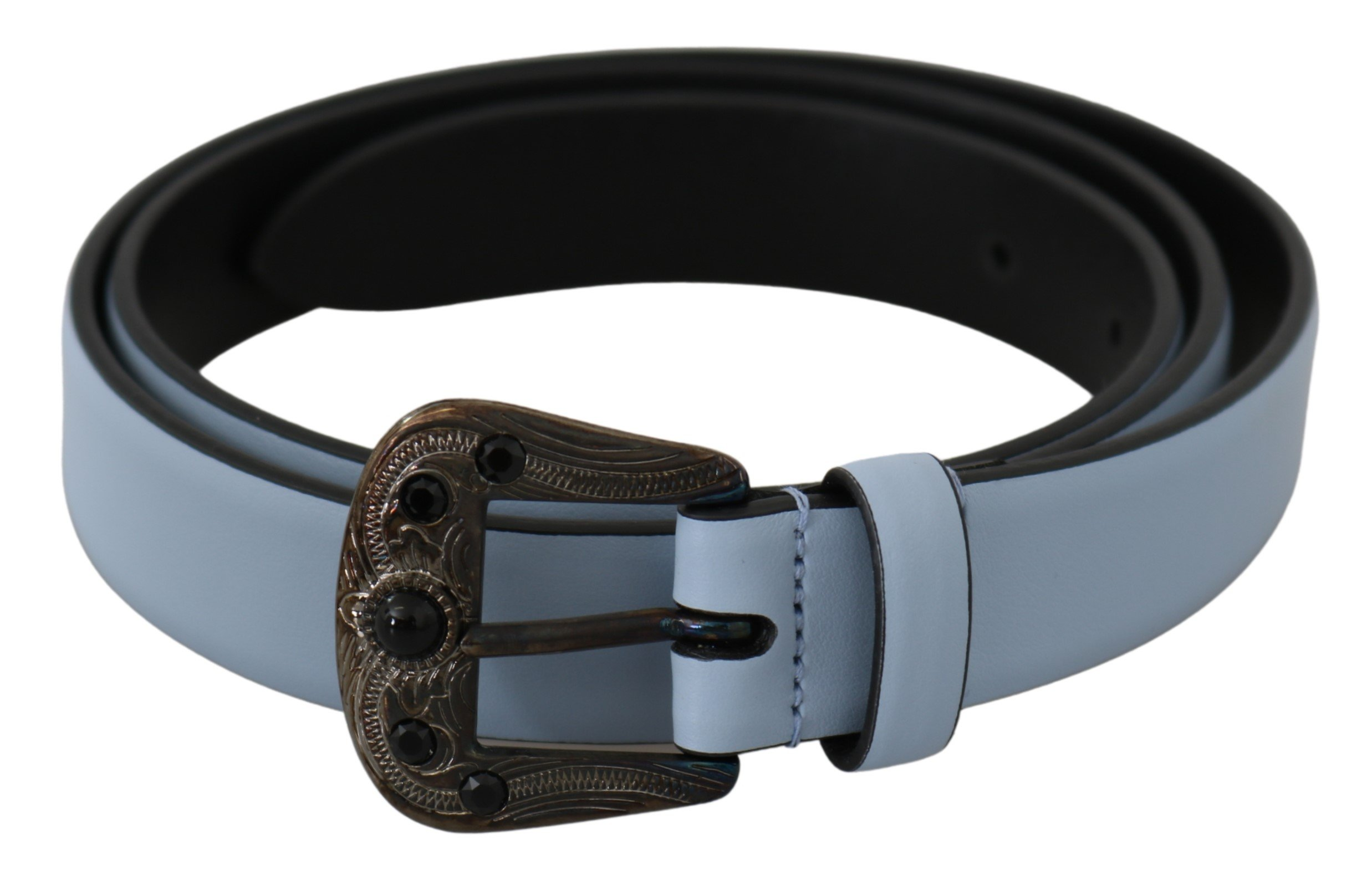 Blue Black Crystal Baroque Buckle Leather Belt - 90 cm / 36 Inches