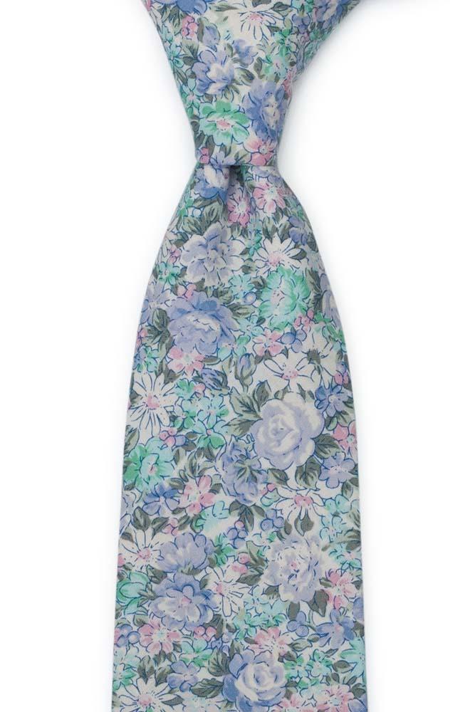 Bomull Slips, Blå, grønnturkis, lilla & hvite blomster, Blå, Blomster