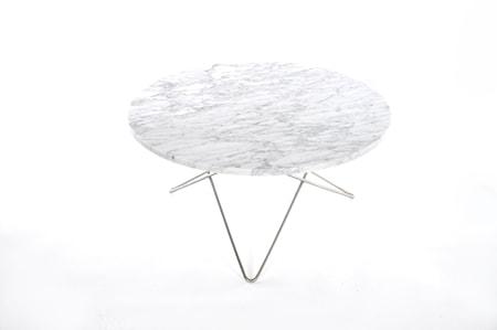 O Table Matbord Rostfritt Stål/Matt Vit Marmor Ø100