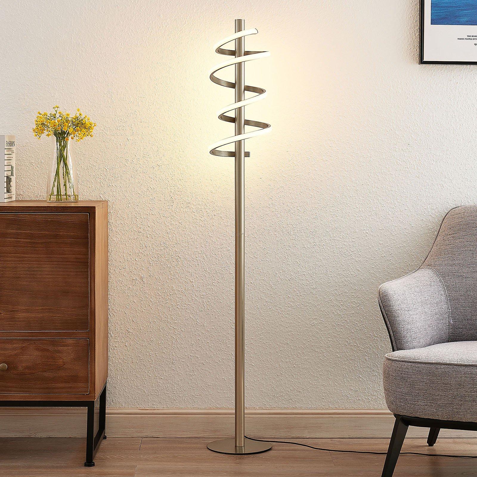 Lucande Milora LED-gulvlampe, satinert nikkel