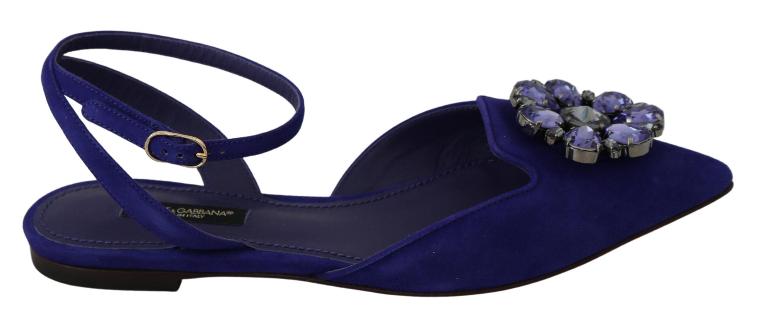 Dolce & Gabbana Women's Suede Crystal Flats Pointed Shoes Blue LA6565 - EU35/US4.5