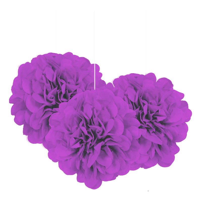 Pom Pom Mini Lila Hängande Dekoration - 3-pack