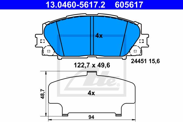 Jarrupalasarja, levyjarru ATE 13.0460-5617.2