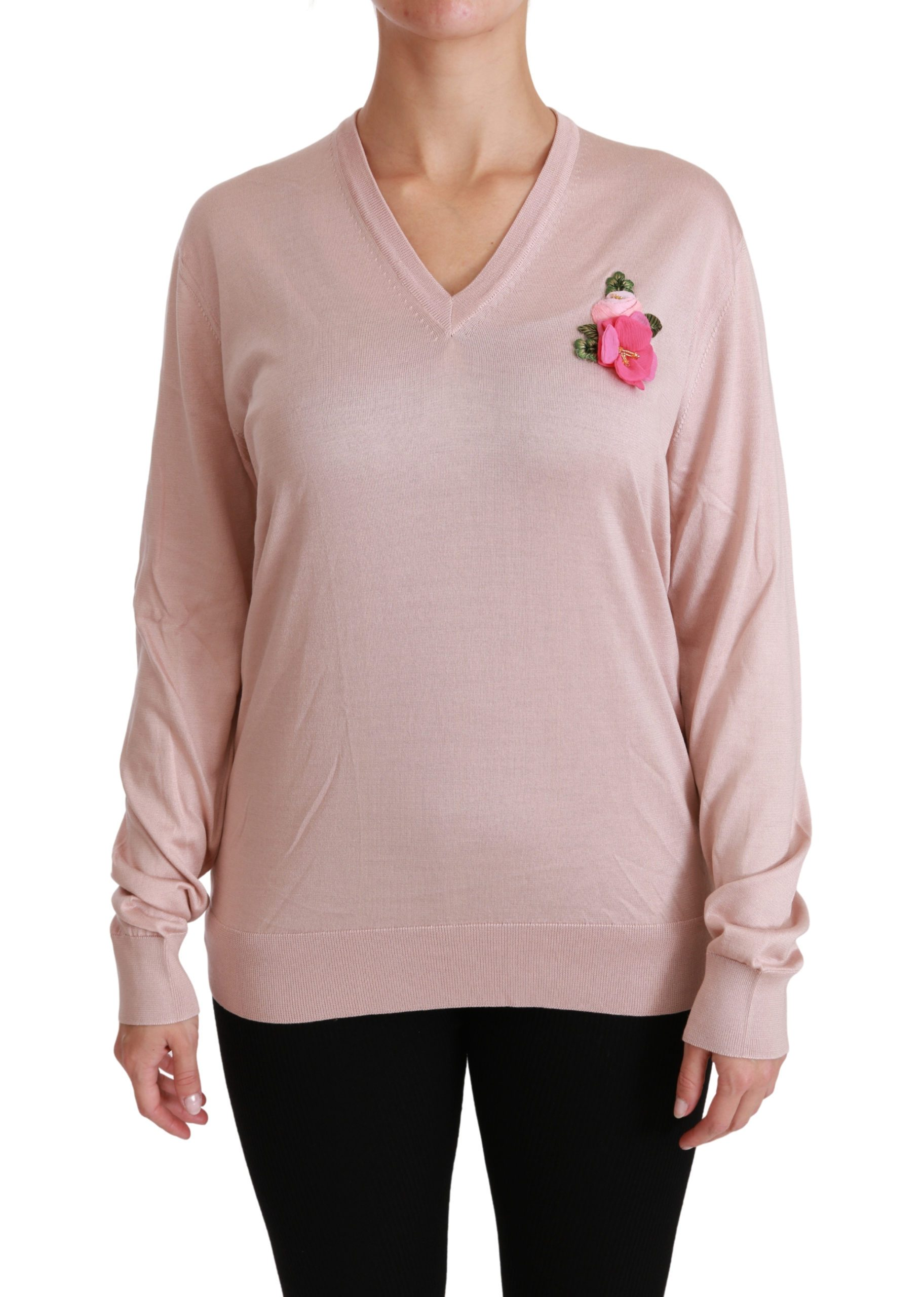 Dolce & Gabbana Women's Floral Embellished Pullover Silk Sweater Pink TSH4453 - IT36 | XS