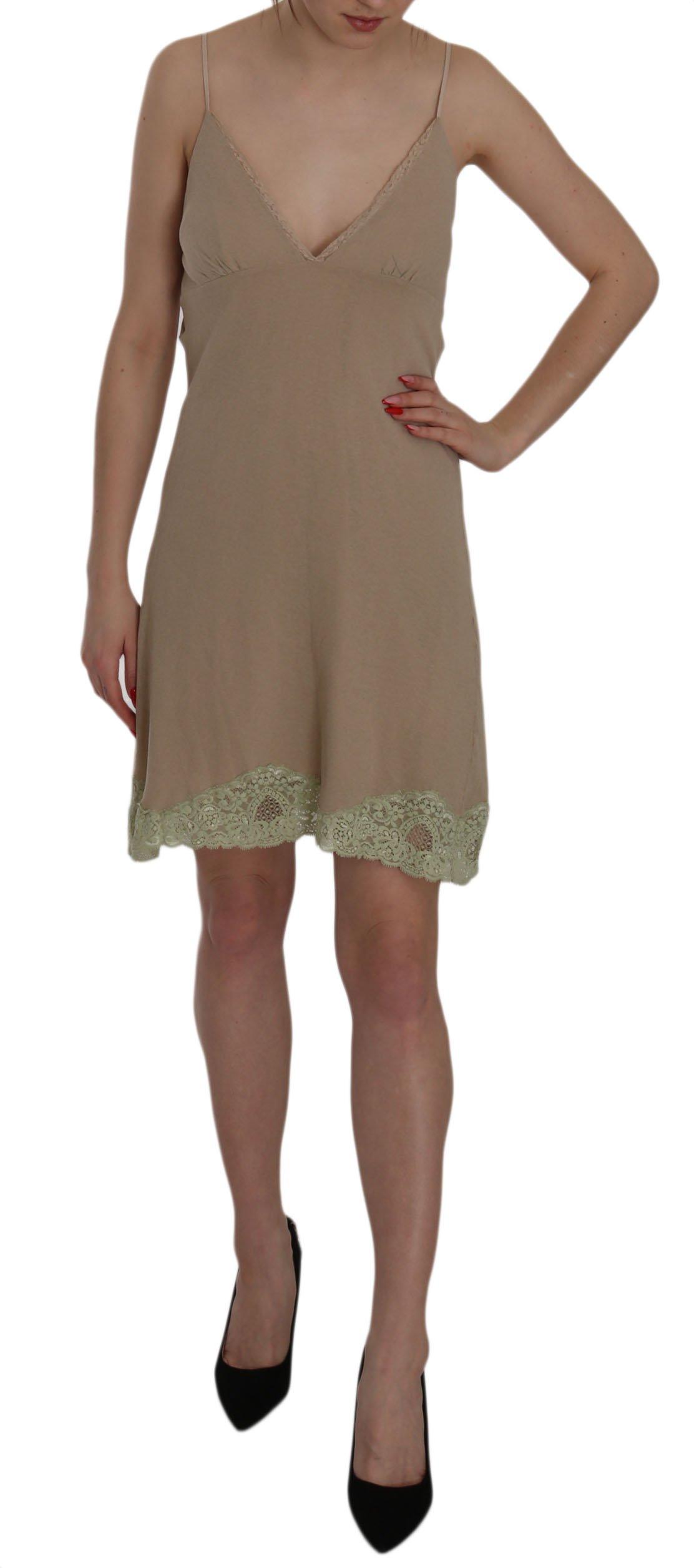 PINK MEMORIES Women's Lace Spaghetti Strap Cotton Dress Beige TSH3477 - IT42|M