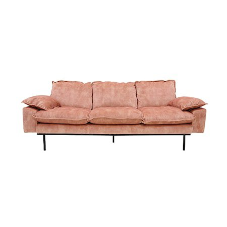 Retro Sofa Fløyel 3-seter Rosa