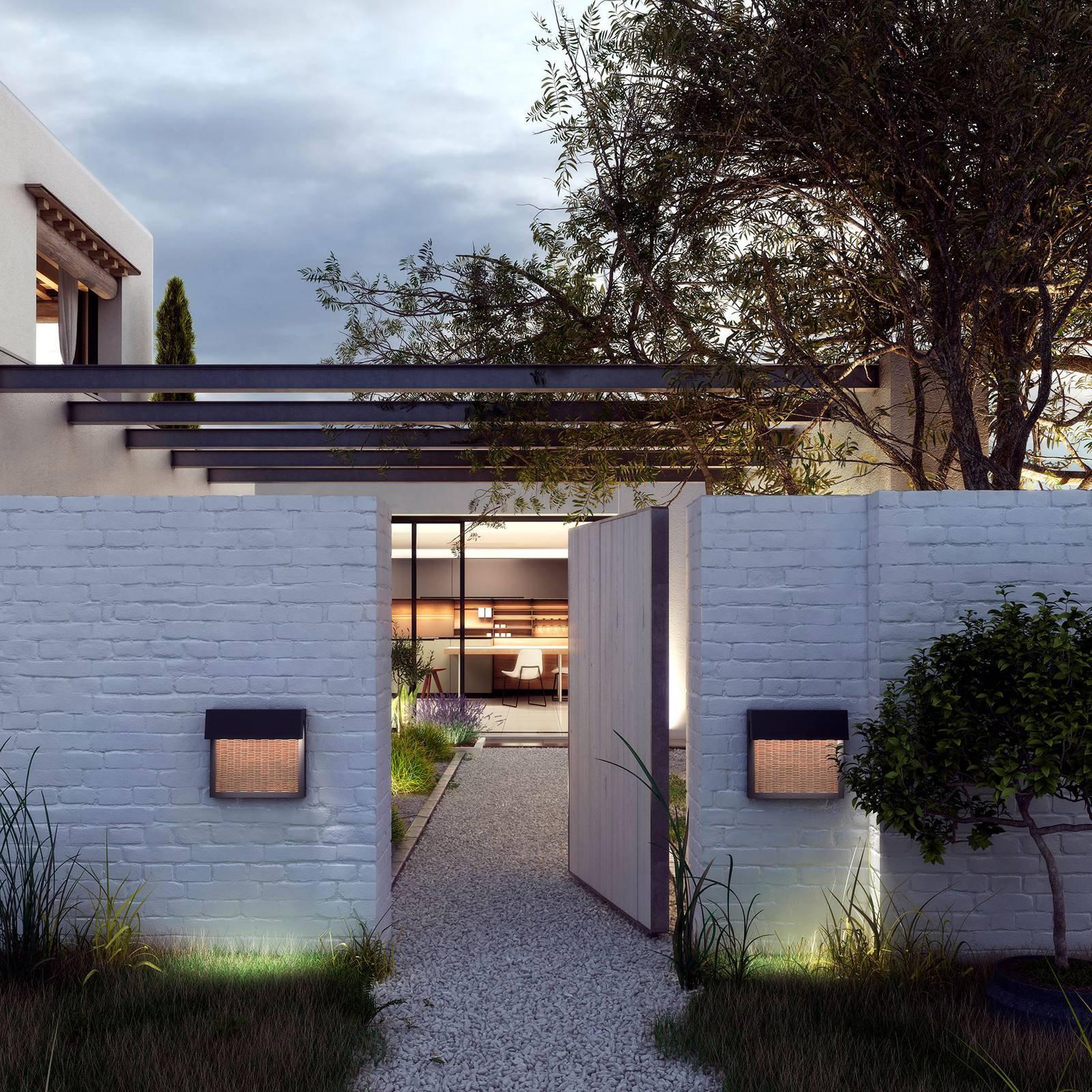 Bover Sisal A/01 utendørs LED-vegglampe, lys beige