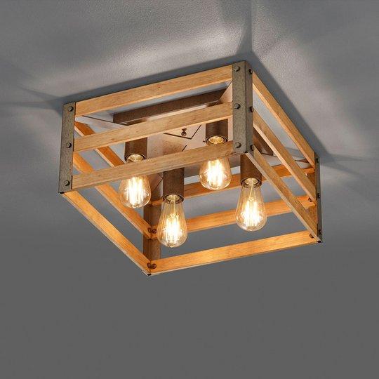 Taklampe Khan i vintagestil, 4 lyskilder